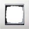 Рамка одинарная белая центральная вставка алюминий, Gira System 55 EVENT - G021171