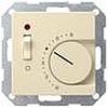 Терморегулятор с размыкающим контактом, выключателем и контрольной лампой глянцевый кремовый, Gira System 55 - G039201