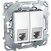 Телефонная розетка двойная 2хrj11 (4 конт) белый, механизмы Unica Schneider - SCMGU5.9090.18ZD