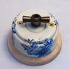 Ретро-выключатель на 2 нагрузки: керамика, поворотн. Белый + Лазурь, ручка «бронза», светл. подложка. - Z24-28-2g