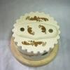 Распаячная коробка керамическая, белая + золото, светл. подложка, для наружн.ретро-проводки. - Z24-34z
